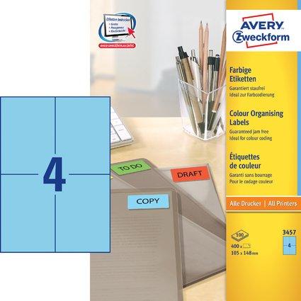 AVERY Zweckform Universal-Etiketten, 105 x 148 mm, blau