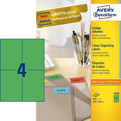 AVERY Zweckform Universal-Etiketten, 105 x 148 mm, grün