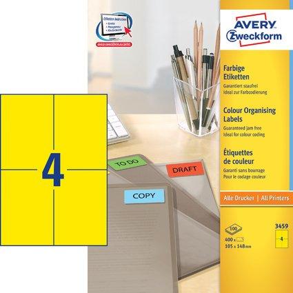 AVERY Zweckform Universal-Etiketten, 105 x 148 mm, gelb