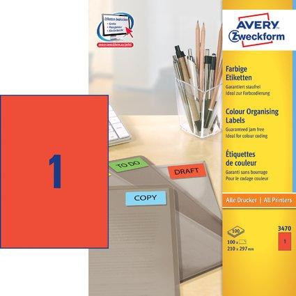 AVERY Zweckform Universal-Etiketten, 210 x 297 mm, rot