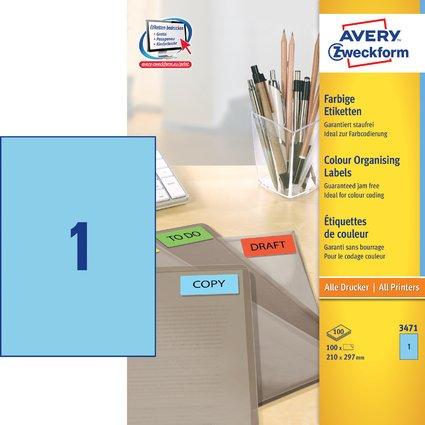 AVERY Zweckform Universal-Etiketten, 210 x 297 mm, blau