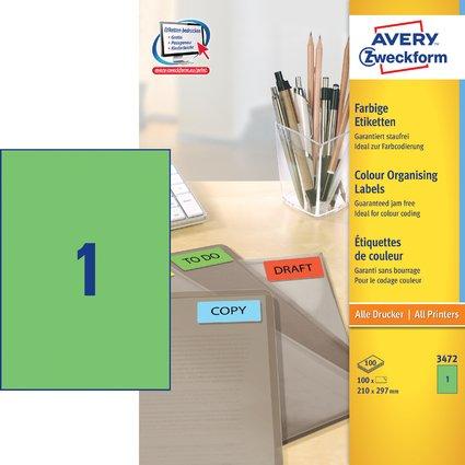 AVERY Zweckform Universal-Etiketten, 210 x 297 mm, grün