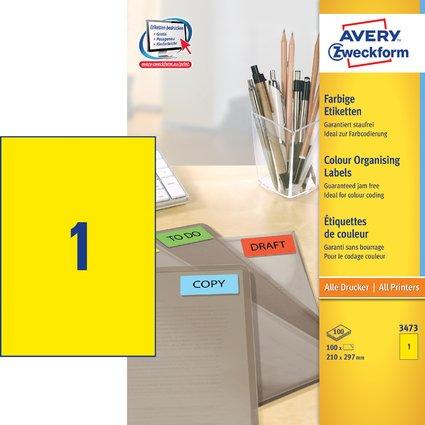 AVERY Zweckform Universal-Etiketten, 210 x 297 mm, gelb