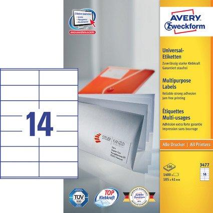 AVERY Zweckform Universal-Etiketten, 105 x 41 mm, weiß