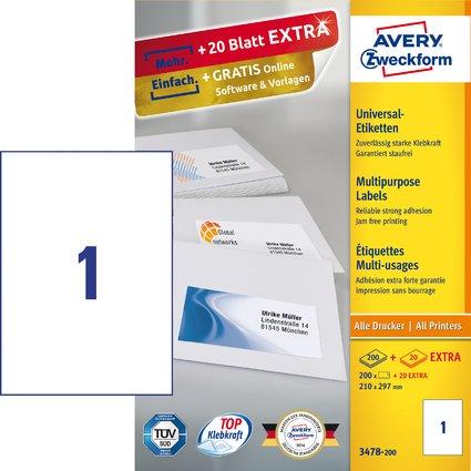 AVERY Zweckform Universal-Etiketten, 210 x 297 mm, weiß