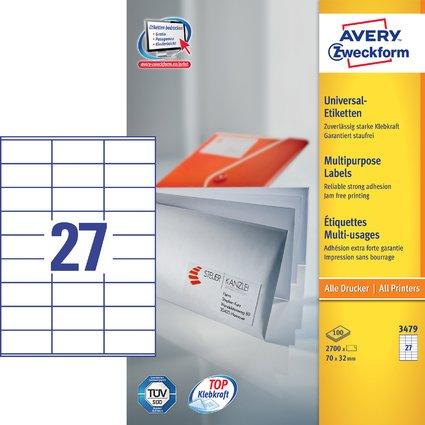 AVERY Zweckform Universal-Etiketten, 70 x 32 mm, weiß
