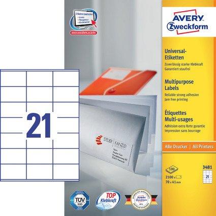 AVERY Zweckform Universal-Etiketten, 70 x 41 mm, weiß