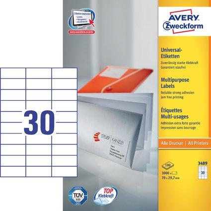 AVERY Zweckform Universal-Etiketten, 70 x 29,7 mm, weiß