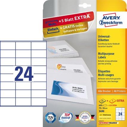 AVERY Zweckform Universal-Etiketten, 70 x 36 mm, weiß