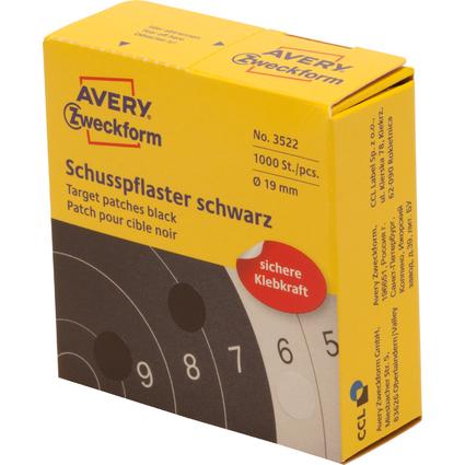 AVERY Zweckform Schußpflaster, schwarz, Durchmesser: 19 mm