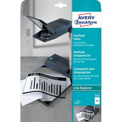 AVERY Zweckform OHP-Folien, A4, klar, stapelverarbeitbar