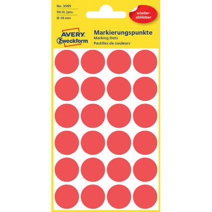 AVERY Zweckform Markierungspunkte, ablösbar, 18 mm, rot
