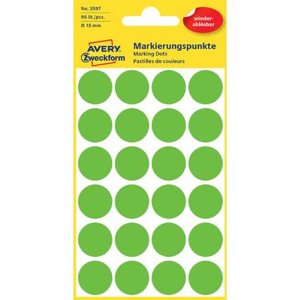 AVERY Zweckform Markierungspunkte, ablösbar, 18 mm, grün