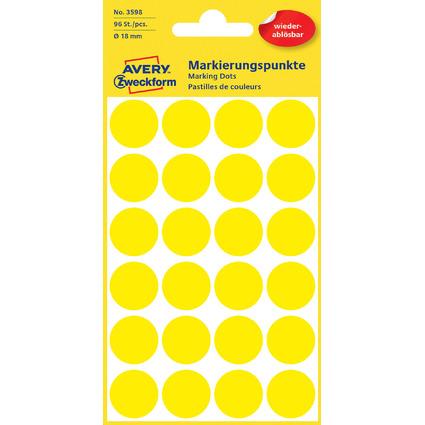 AVERY Zweckform Markierungspunkte, ablösbar, 18 mm, gelb