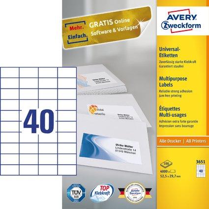 AVERY Zweckform Universal-Etiketten, 52,5 x 29,7 mm, weiß