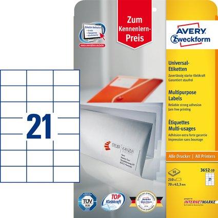 AVERY Zweckform Universal-Etiketten, 70 x 42,3 mm, weiß