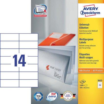 AVERY Zweckform Universal-Etiketten, 105 x 42,3 mm, weiß