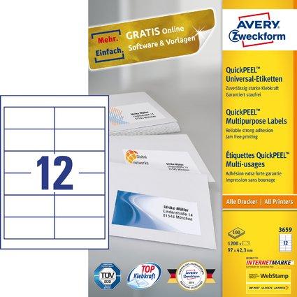 AVERY Zweckform Universal-Etiketten, 97 x 42,3 mm, weiß