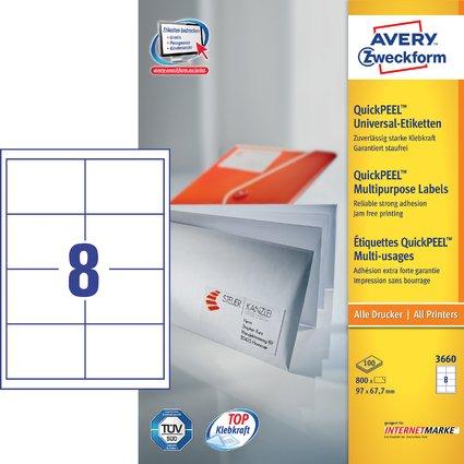 AVERY Zweckform Universal-Etiketten, 97 x 67,7 mm, weiß
