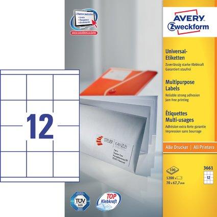 AVERY Zweckform Universal-Etiketten, 70 x 67,7 mm, weiß
