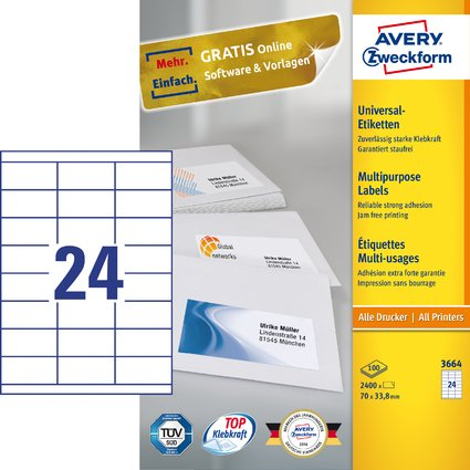 AVERY Zweckform Universal-Etiketten, 70 x 33,8 mm, weiß