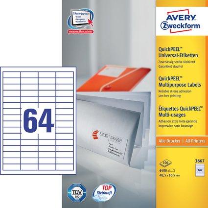 AVERY Zweckform Universal-Etiketten, 48,5 x 16,9 mm, weiß