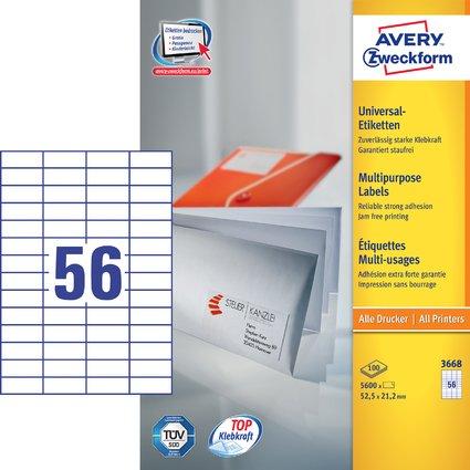 AVERY Zweckform Universal-Etiketten, 52,5 x 21,2 mm, weiß