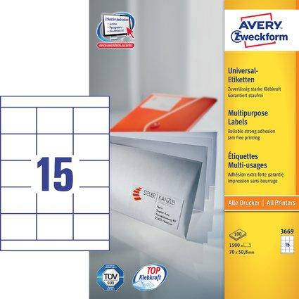 AVERY Zweckform Universal-Etiketten, 70 x 50,8 mm, weiß