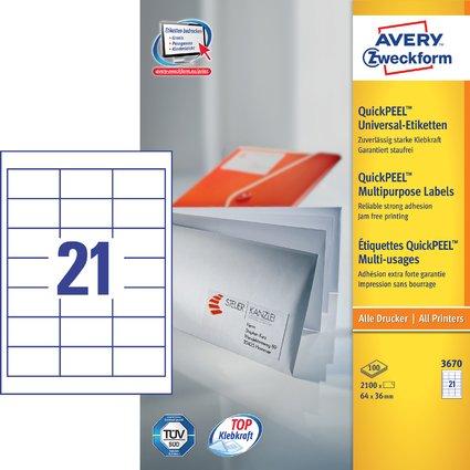 AVERY Zweckform Universal-Etiketten, 64 x 36 mm, weiß