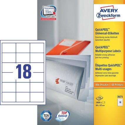 AVERY Zweckform Universal-Etiketten, 64 x 45 mm, weiß