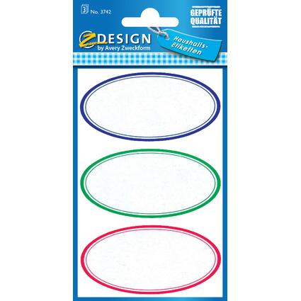 "AVERY Zweckform Z-Design Haushaltsetiketten ""oval"", bunt"