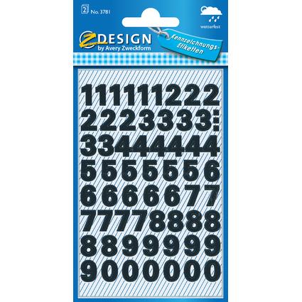 AVERY Zweckform ZDesign Zahlen-Sticker 0-9, Folie schwarz