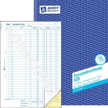 "AVERY Zweckform Formularbuch ""Kassenabrechnung"", A4"