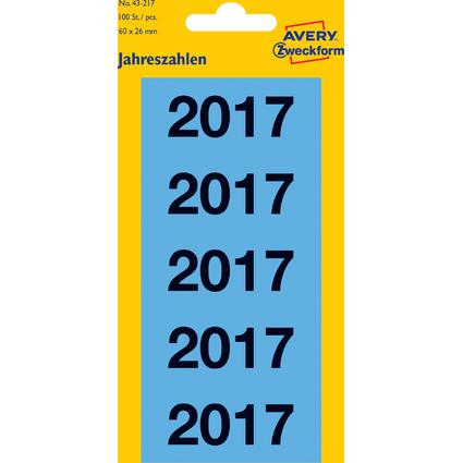 """AVERY Zweckform Inhaltsschilder """"2017"""", 60 x 26 mm, blau"""