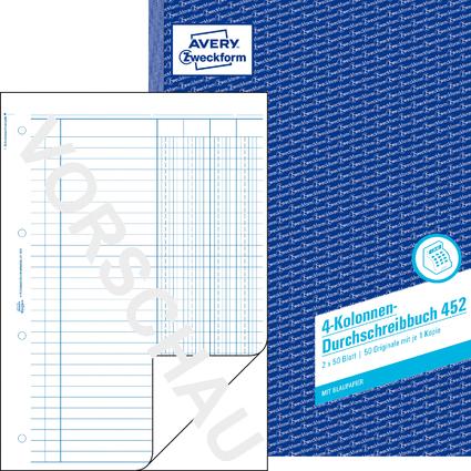"""AVERY Zweckform Formularbuch """"4 Kolonnen-Durchschreibbuch"""""""