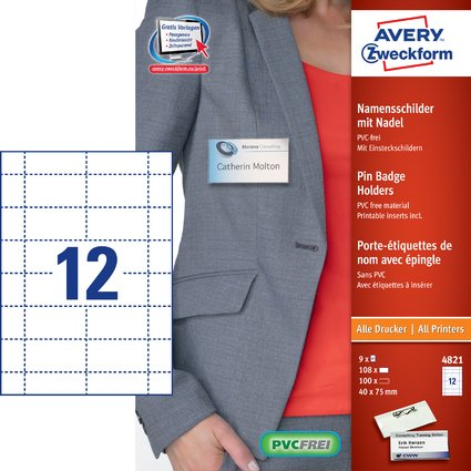 AVERY Zweckform Namensschild mit Wellennadel, 75 x 40 mm