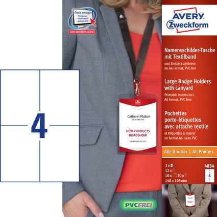 AVERY Zweckform Namensschild-Tasche, 148x105 mm, Textilband