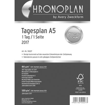 CHRONOPLAN Tagesplan 2017, 1 Tag/1 Seite, DIN A5