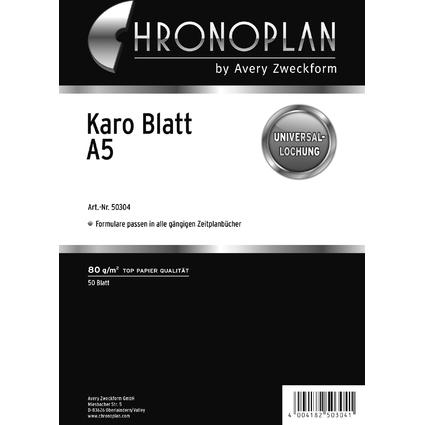 CHRONOPLAN Karo Blatt, DIN A5, 80 g/qm, 50 Blatt