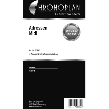 CHRONOPLAN Adressen, Midi, 80 g/qm, 16 Blatt