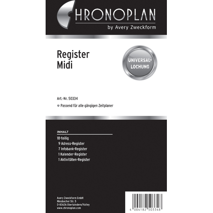 CHRONOPLAN Register, Midi, 18-teilig