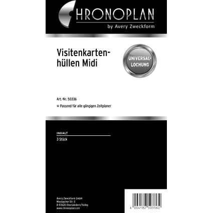 CHRONOPLAN Visitenkartenhülle, Midi, transparent