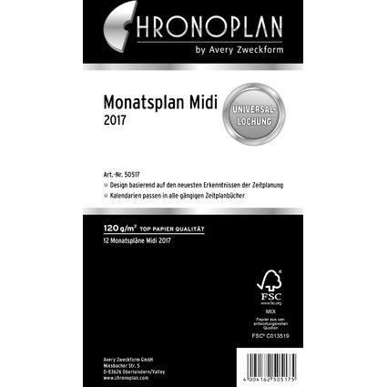 CHRONOPLAN Monatsplan 2017, Midi, 96 x 172 mm