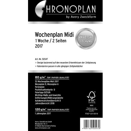 CHRONOPLAN Wochenplan 2017, 1 Woche/2 Seiten, Midi, Spalten