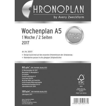 CHRONOPLAN Wochenplan 2017, 1 Woche/2 Seiten, A5, Zeilen