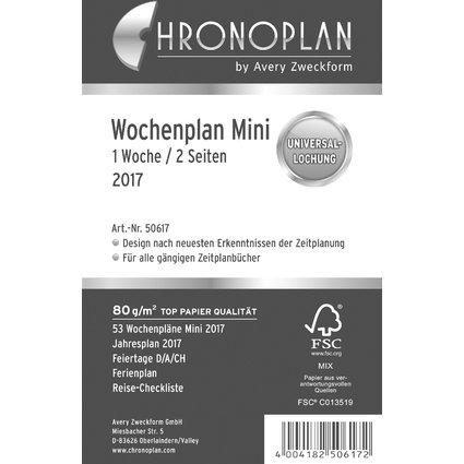 CHRONOPLAN Wochenplan 2017, 1 Woche/2 Seiten, Mini, Zeilen
