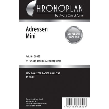 CHRONOPLAN Adressen, Mini, 80 g/qm, 16 Blatt