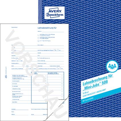 "AVERY Zweckform Formularbuch ""Lohnabrechnung Mini-Jobs"", A4"