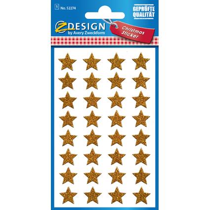 """AVERY Zweckform ZDesign Weihnachts-Sticker """"Glamour"""", gold"""