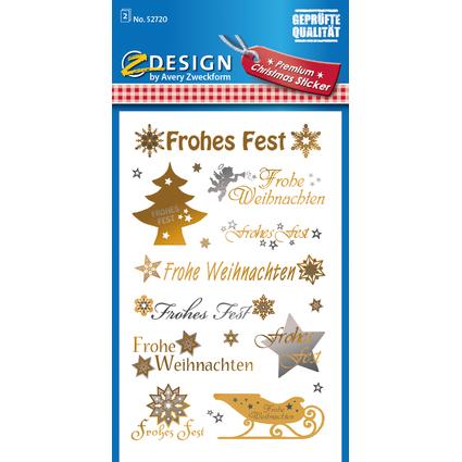 AVERY Zweckform ZDesign Weihnachts-Sticker Schrift + Symbole